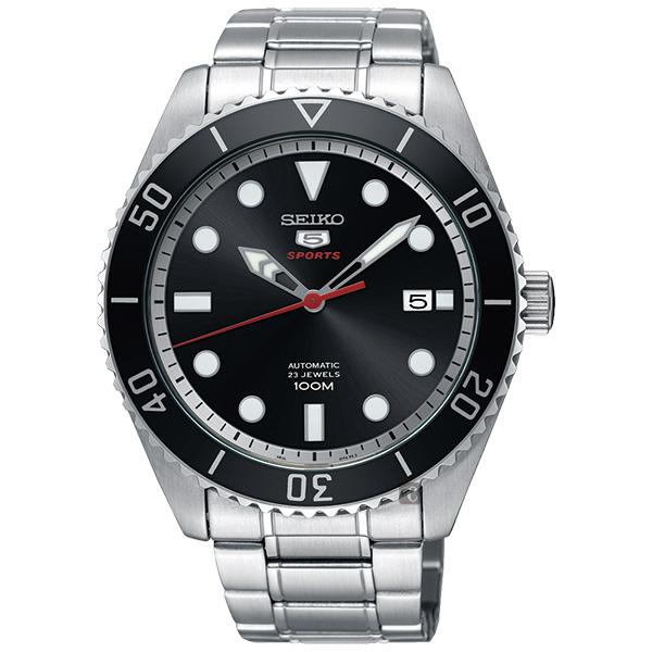 SEIKO精工5號23石復刻盾牌機械錶-黑x銀/44mm 4R35-02D0D(SRPB91J1)