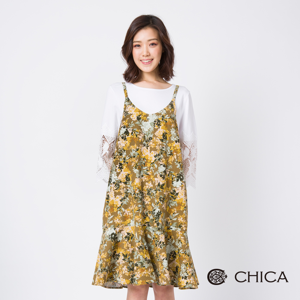CHICA 花藝風華荷葉裙襬印花設計洋裝