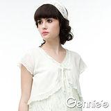 Gennies奇妮-百搭針織綁帶春夏孕婦短版小外套(三色可選)(CSU61)