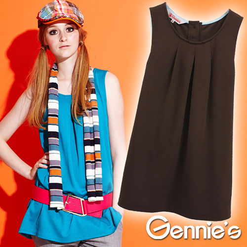 品特*Gennies奇妮-素面褶飾無袖孕婦上衣(咖啡G3Y02)
