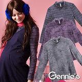 Gennies奇妮-日系花染棉質條紋孕婦上衣(三色可選G3216)