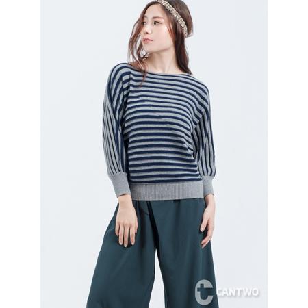CANTWO錯織跳色條紋針織上衣(共二色)
