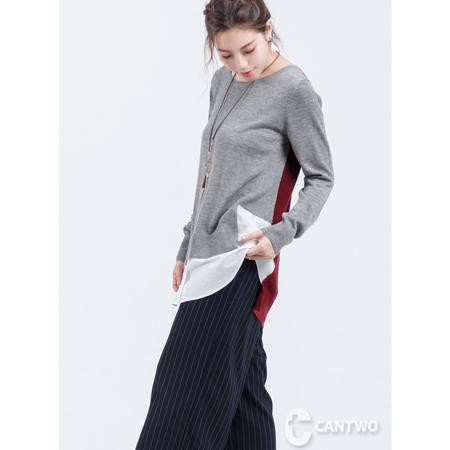 CANTWO雙色拼接假兩件毛衣(共二色)