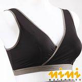 nini專櫃孕婦裝-前交叉式運動休閒孕哺內衣(時尚黑HA42)