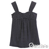 Gennies奇妮-俏麗好搭條紋春夏孕婦背心上衣(黑G3X46)