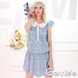Gennies奇妮-學院風圓領灰藍荷葉邊春夏孕婦上衣(G1316)