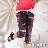 Gennies奇妮-個性剪裁抓破造型一體成型系列孕婦七分內搭褲(兩色可選)(G4104)