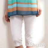 Gennies奇妮-素面彈性窄管孕婦七分褲(兩色可選C4506)
