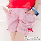 Gennies奇妮-條紋棉質春夏孕婦短褲(一體成型系列)(紅G4303)