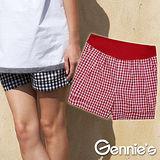 Gennies奇妮-經典格紋造型孕婦短褲(紅G4X21)