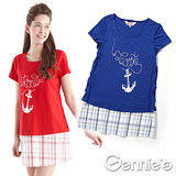 Gennies奇妮-格紋船錨度假風春夏孕婦哺乳衣(藍GNA06)