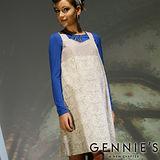 品特*Gennies奇妮-氣質古典花紋孕婦背心洋裝(香檳金C2W08)