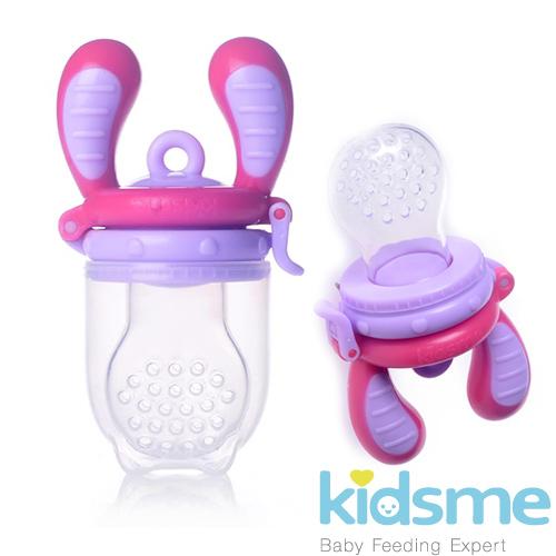 英國kidsme-咬咬樂輔食器(紫紅L號)