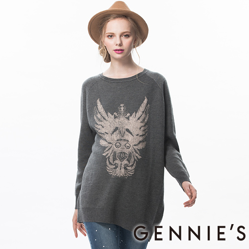 Gennies奇妮-個性圖印針織秋冬長版上衣(灰TSA02)