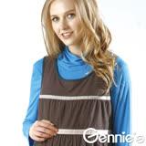 Gennies奇妮-高領反摺素色秋冬棉T上衣(青藍/綠G3752)