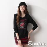 Gennies奇妮-塗鴉條紋秋冬孕婦哺乳長版上衣(兩色可選GN074)