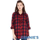 Gennies奇妮-經典格紋配色綁帶哺乳上衣(紅藍格T3E09)