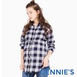 Gennies奇妮-經典格紋配色綁帶哺乳上衣(藍白格T3E09)