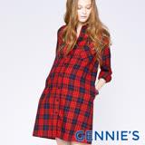 Gennies奇妮-經典格紋優雅哺乳洋裝-M(紅格T1C11)
