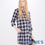 Gennies奇妮-經典格紋優雅哺乳洋裝(藍格T1C11)