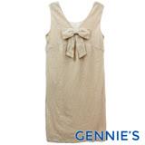 Gennies奇妮-V領蝴蝶結背心洋裝(膚G2229)