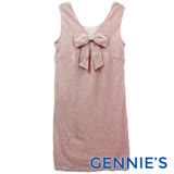 Gennies奇妮-V領蝴蝶結背心洋裝(粉G2229)