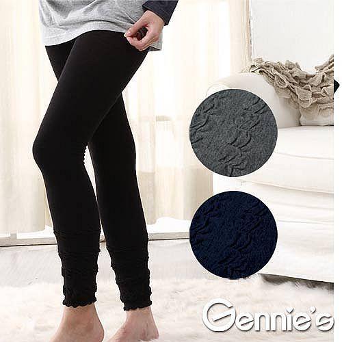 2件組*Gennies奇妮-泡泡彈性厚棉孕婦九分褲襪(三色可選)(GM46)