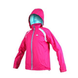 (女) KAPPA 雙層風衣-可拆式連帽外套 立領 防風 防潑水 慢跑 路跑 桃紅藍 L