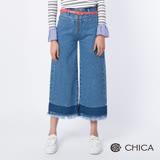 CHICA 微靚女孩復古況味八分單寧寬褲(1色)