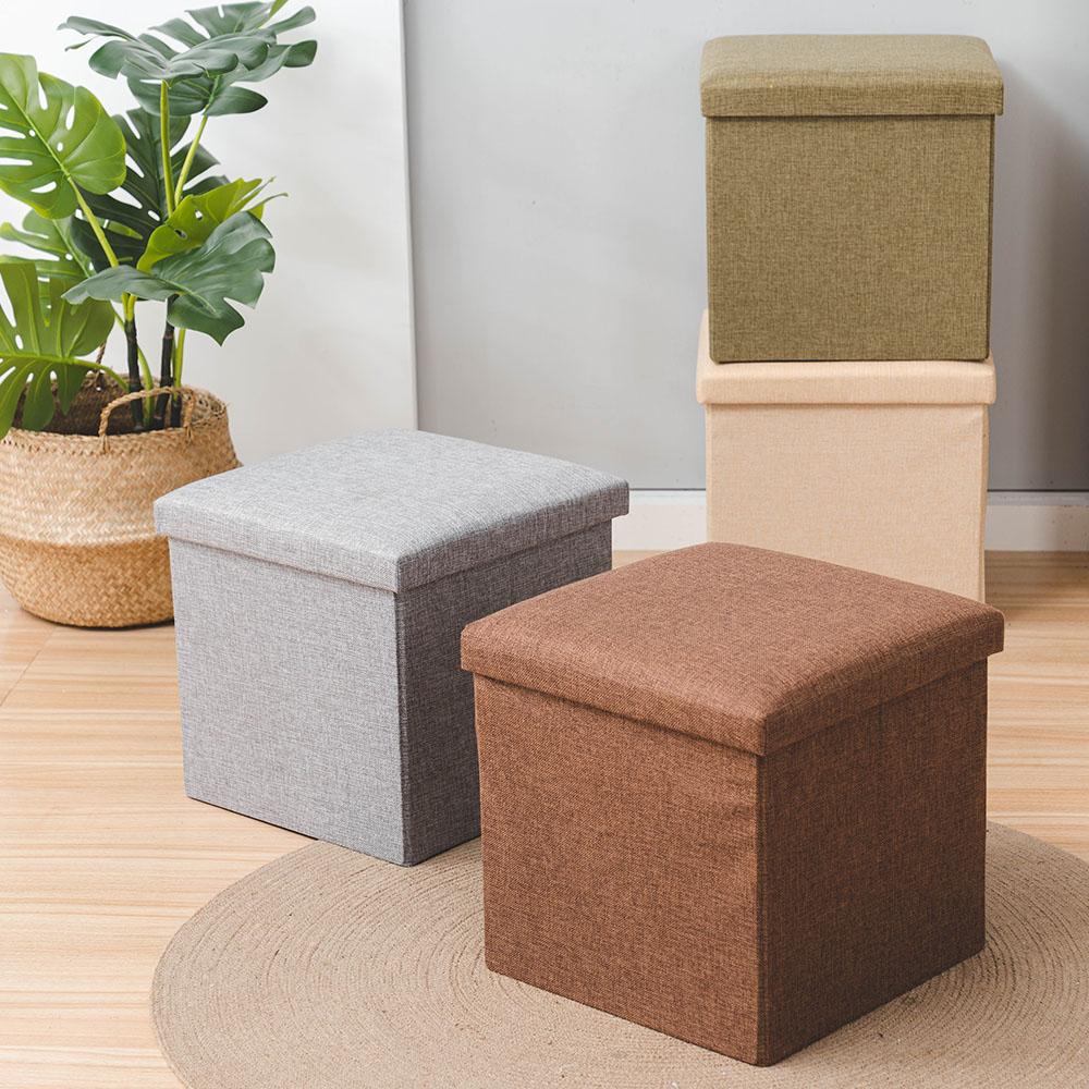 材質舒適硬挺 簡約可折疊棉麻收納凳