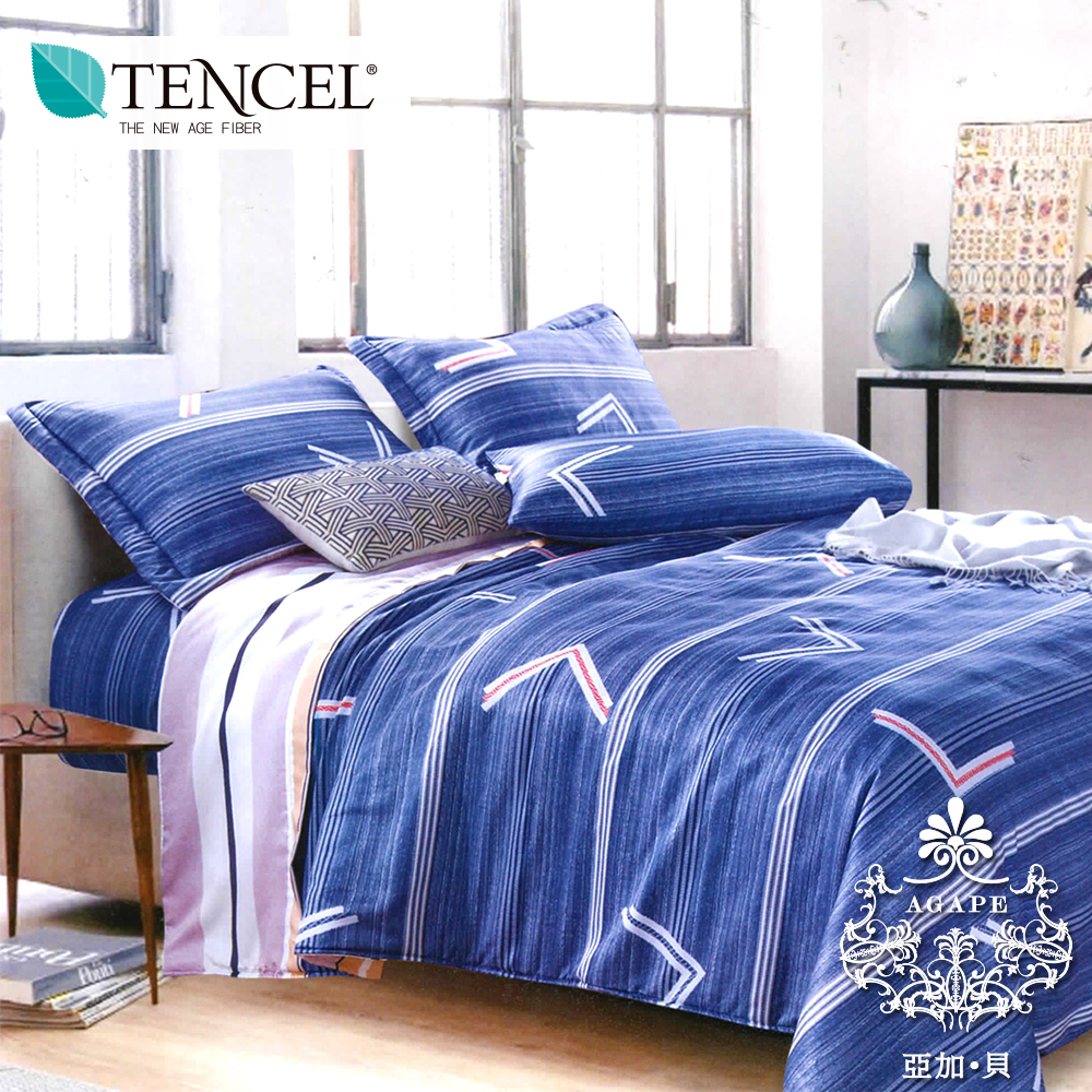 AGAPE亞加•貝 《獨家私花-時尚物語》 吸濕排汗法式天絲標準雙人5尺全鋪棉床包兩用被套組