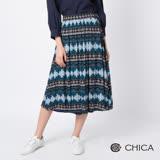 CHICA 復古文藝民族圖騰設計波浪長裙(1色)