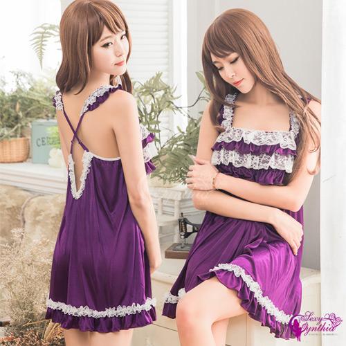 【Sexy Cynthia】性感睡衣 深紫柔緞白蕾絲交叉美背睡衣