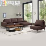 Bernice-坦卡司L型灰咖啡色布沙發椅+單人沙發椅組合(左右型可選)