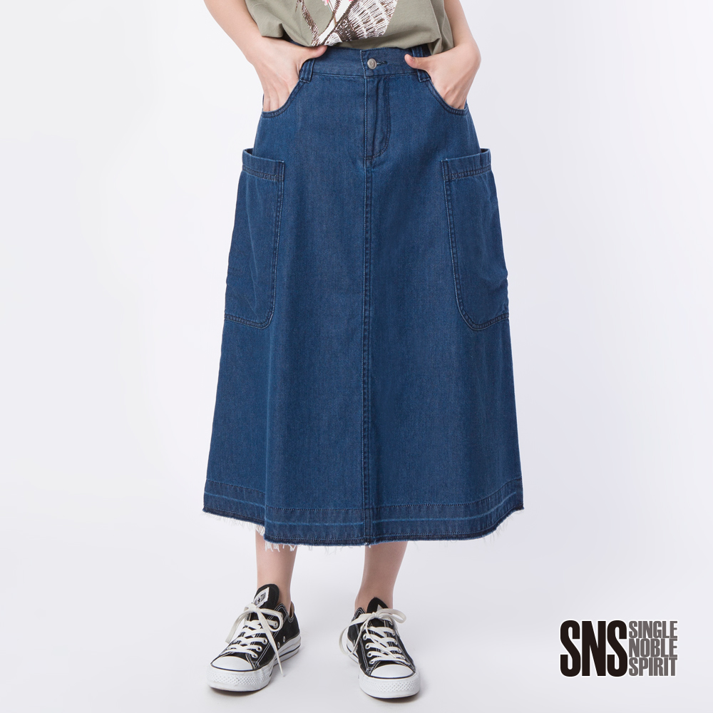 SNS 嬉皮時尚街頭風 牛仔設計長裙