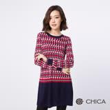 CHICA 愛麗絲幻想世界菱格紋羊毛針織衫(2色)