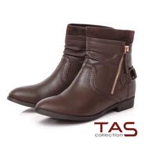 TAS 雙拉鍊抓皺拼接扣帶工程靴-溫暖咖