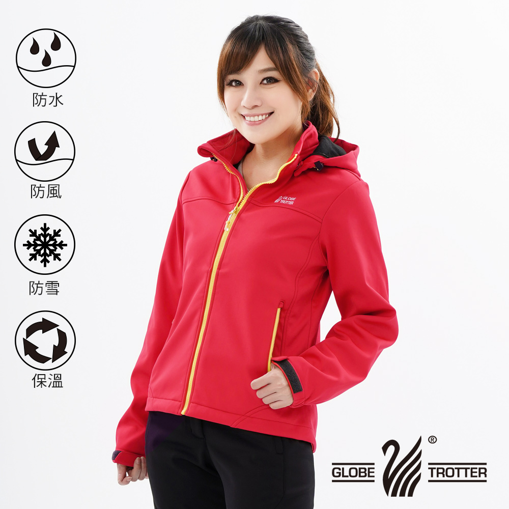 【遊遍天下】女款GlobeTex防水透濕防風刷毛軟殼外套23010紅色