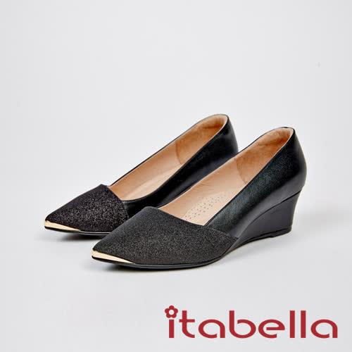 itabella.甜美氣質-光閃耀尖頭楔型鞋(7571-91黑)