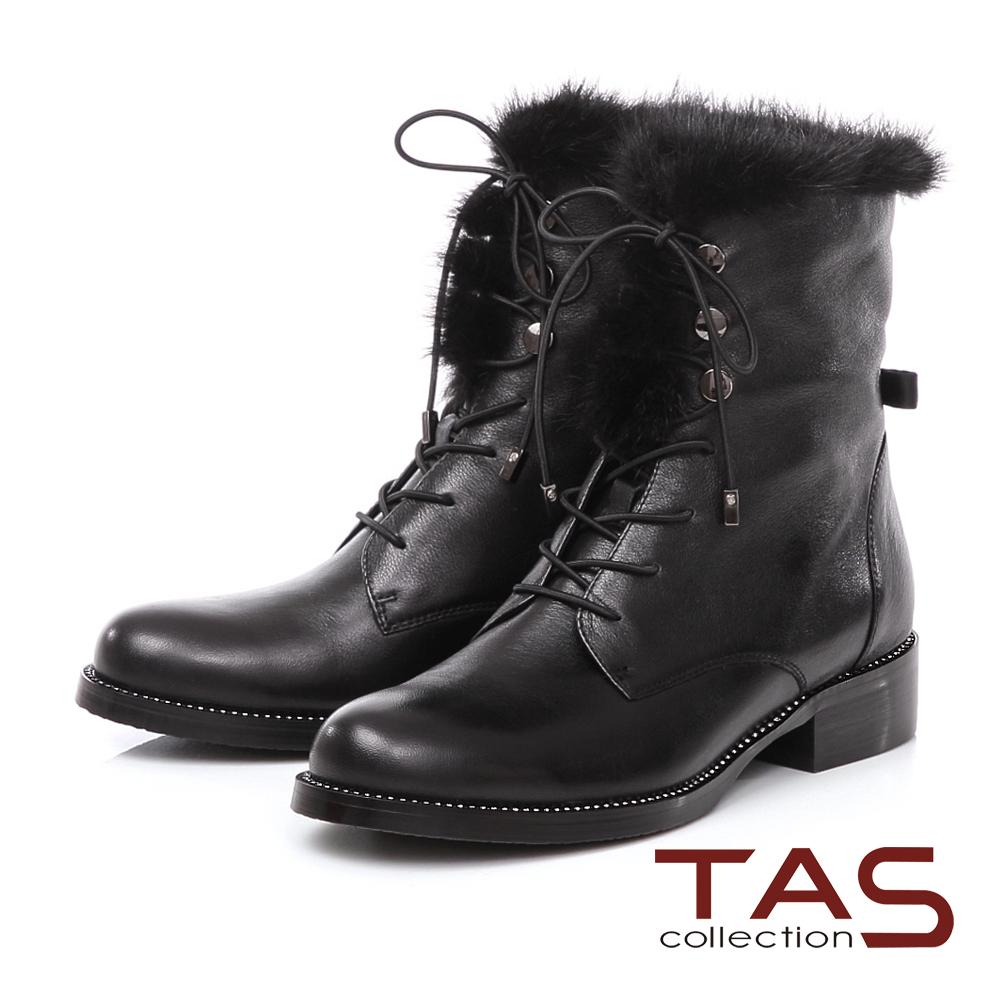 TAS 貂毛滾邊鑽底真皮綁帶短靴-時髦黑
