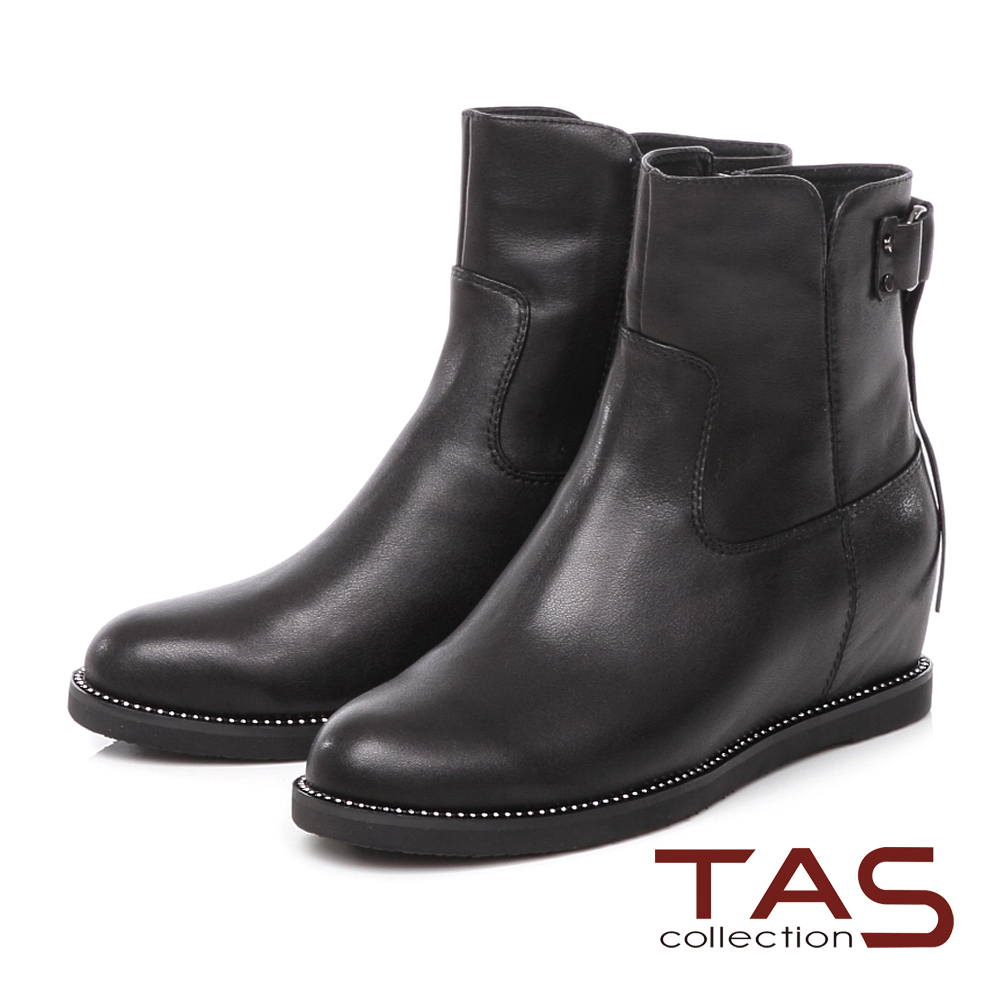 TAS 金屬流蘇飾釦鑽底內增高短靴-時尚黑