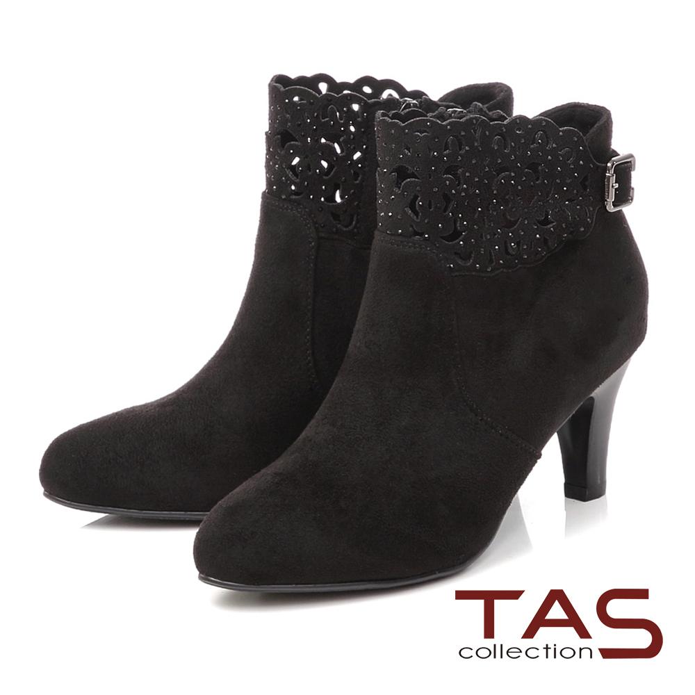 TAS 鏤空雕花水鑽麂皮高跟短靴-閃耀黑
