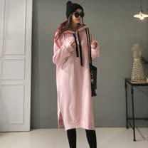 粉紅教主<BR/>休閒連帽內刷毛保暖洋裝