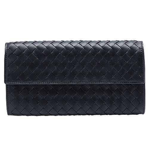 BOTTEGA VENETA 經典編織羊皮暗釦拉鍊長夾( 黑色)