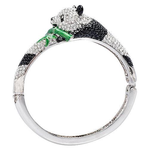 Glitz London 熊貓竹青 水鑽壓釦金屬手鐲 手環