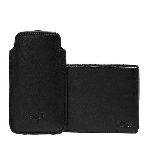 HUGO BOSS 經典LOGO壓紋牛皮零錢袋折疊短夾(黑-附IPHONE5手機保護套)