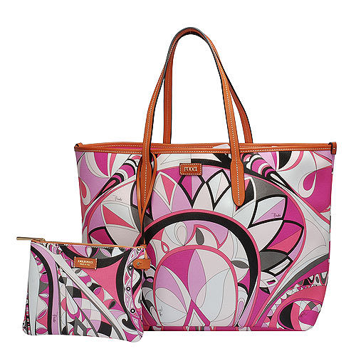 EMILIO PUCCI 經典幾何印花牛皮飾邊PVC子母購物包(大-粉紅-附萬用小袋)