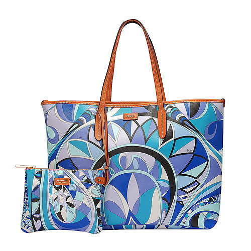 EMILIO PUCCI 經典幾何印花牛皮飾邊PVC子母購物包(大-松石綠-附萬用小袋)