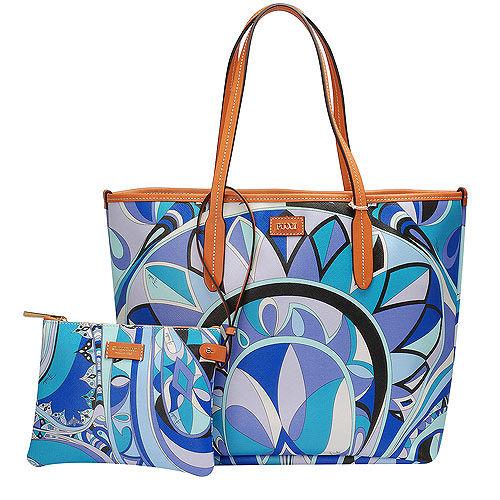 EMILIO PUCCI 經典幾何印花牛皮飾邊PVC子母購物包(中-松石綠-附萬用小袋)
