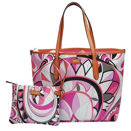 EMILIO PUCCI 經典幾何印花牛皮飾邊PVC子母購物包(中-粉紅-附萬用小袋)
